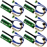 MintCell 6-Pack PCIe VER 006 PCI-E 16x to 1x Powered Riser Adapter Card w/ 60cm USB 3.0 Extension Cable & MOLEX to SATA Power Cable - GPU Riser Adapter - Ethereum Mining ETH + MintCell 6 Cable Ties