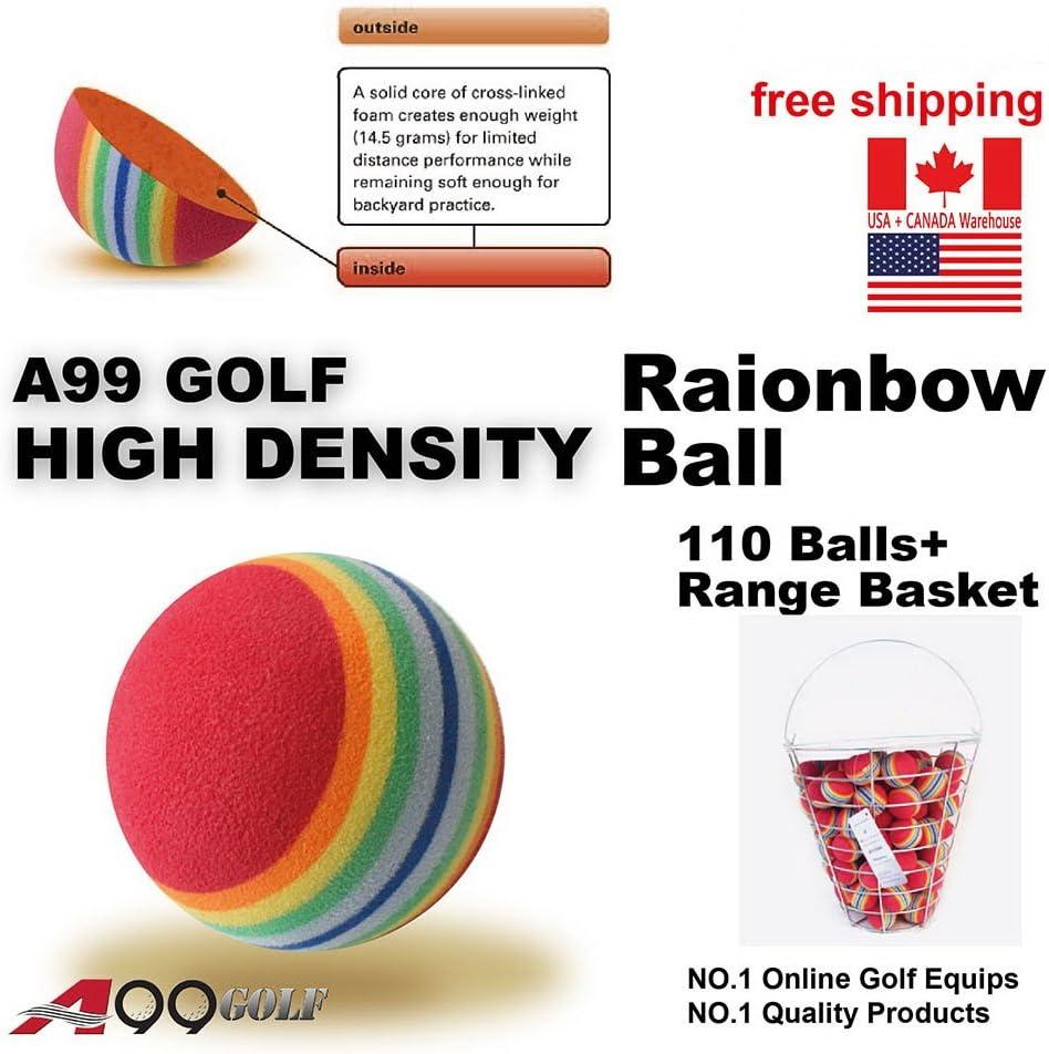 A99 Golf Rainbow Foam Ball Practice 110 Pcs with Bucket