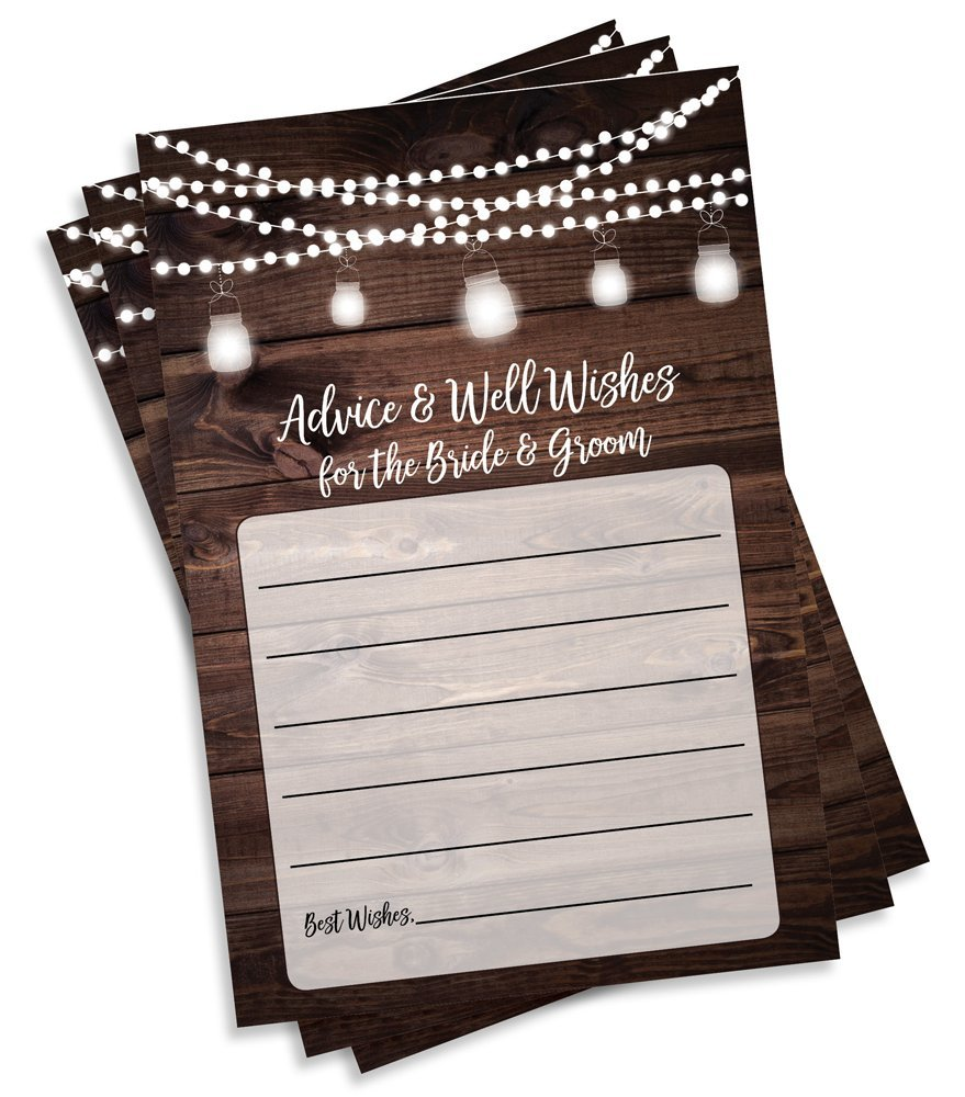 50 Rustic Wedding Advice and Well Wishes for The Bride and Groom - Wood and Lights - Guest Book Alternative - Bridal Shower Games (50-Cards)