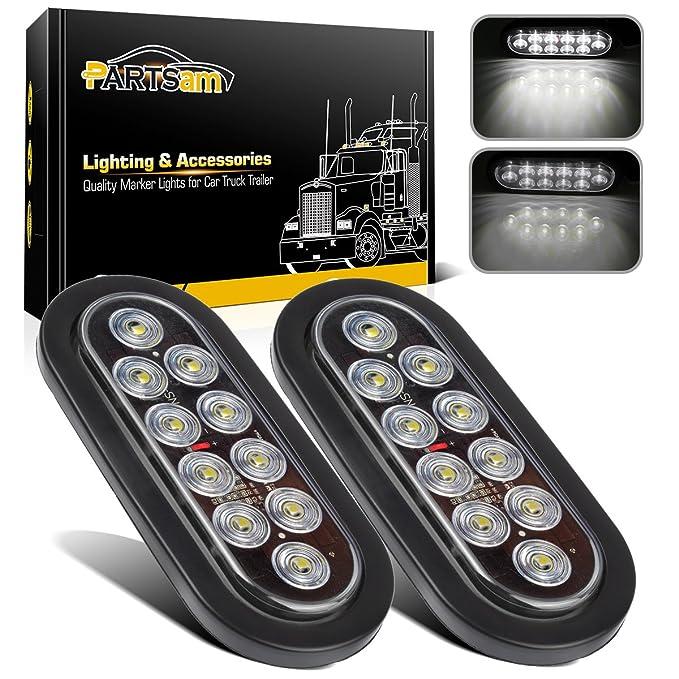 2X 6 LED Bus Boat Truck Trailer Side Marker Tail Light Lamp 12V White Waterproof