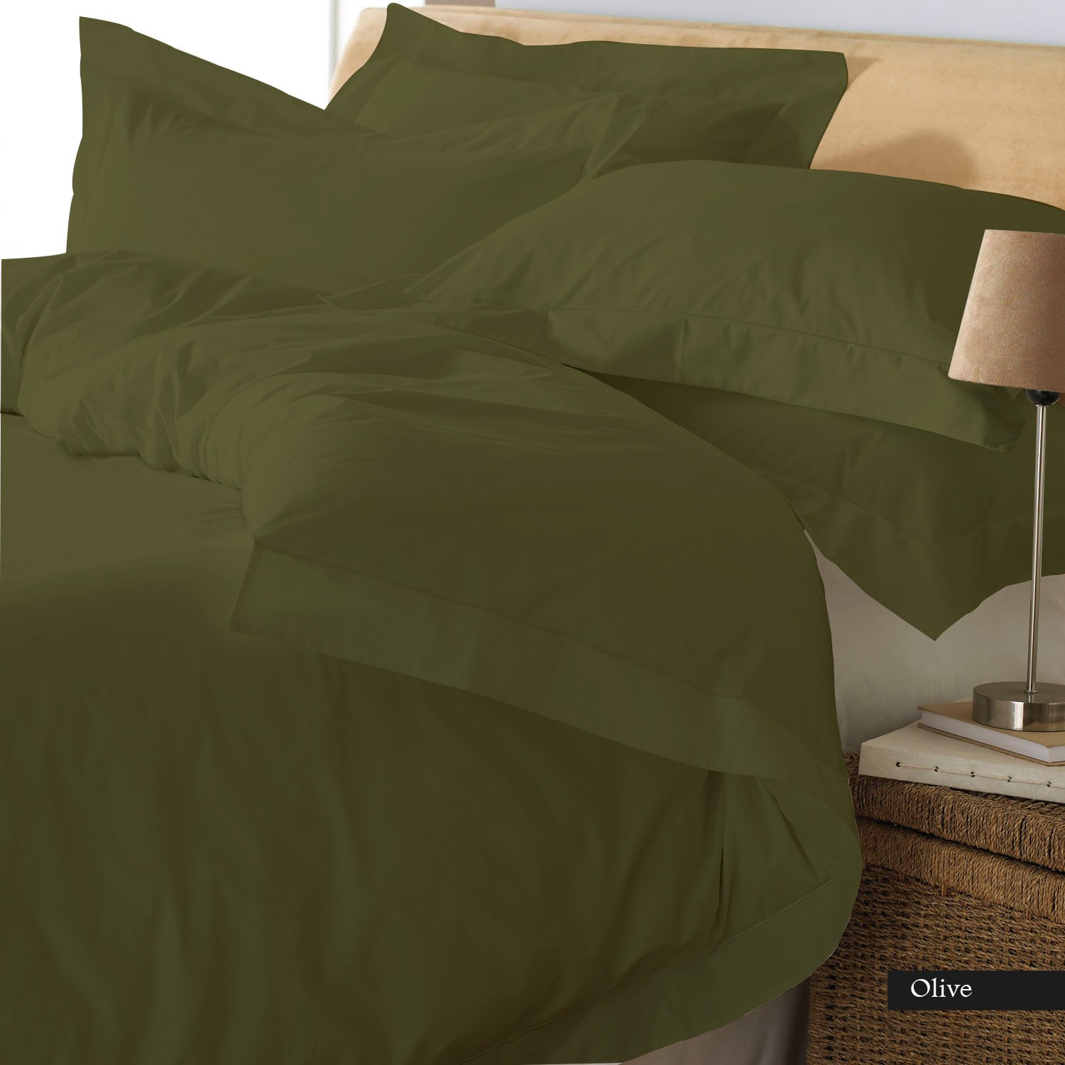 PEARLBEDDING Egyptian Cotton Duvet Cover 600 TC Solid ( Queen , Olive )