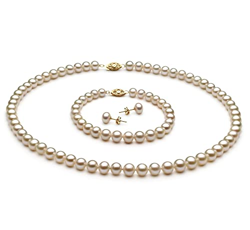 defa1d9836738 White 6-7mm AA Quality Freshwater Cultured Pearl Set for Women