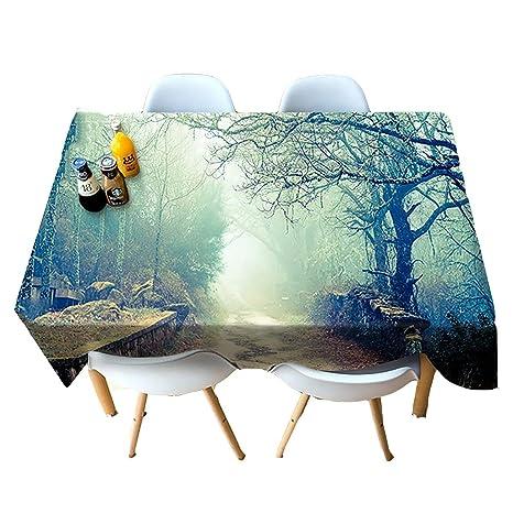 HUANZI Mantel, Grande Modelo de impresión árbol de 3D Niebla, Toallas de Bodas,