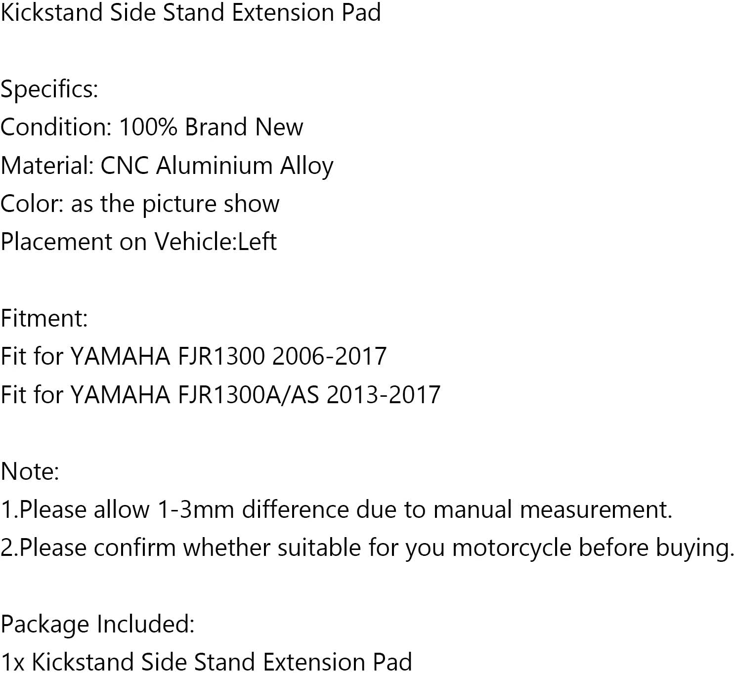 Topteng Motorcycle Kickstand Side Stand Extension Pad Sidestand Enlarge Plate Pad fits for YAMAHA FJR1300 2006-2017 FJR1300A//AS 2013-2017