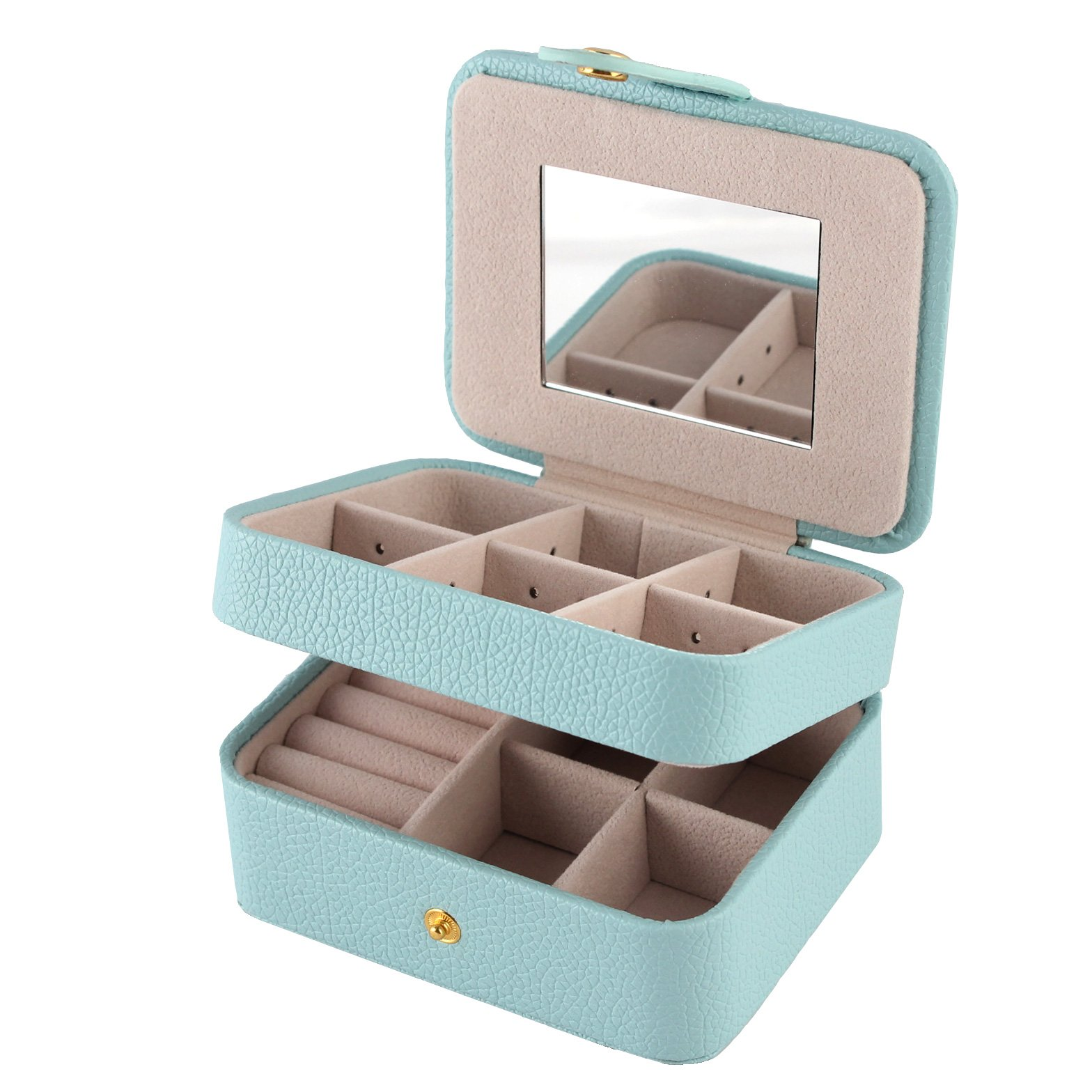 Equuleus Small Jewelry Box Organizer | (PALE GREEN) | Portable Jewelry, Earring Holder and Ring Storage Case for Travel with Premium Velvet Lining