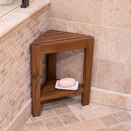Attirant Amazon.com: Belham Living Corner Teak Shower Bench With Shelf: Home U0026  Kitchen