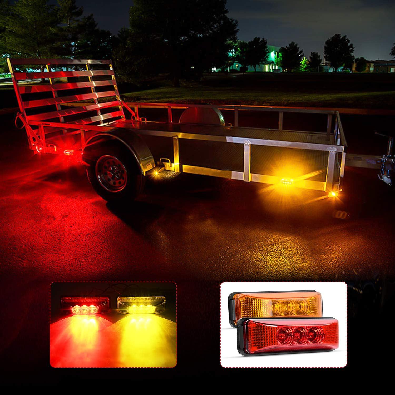 Nilight TL-33 4PCS 3.9 Inch 3 Led Truck Trailer Light Front Rear LED Side Marker Lights Clearance Indicator Lamp Waterproof Sealed Surface Mounted LED Marker Light