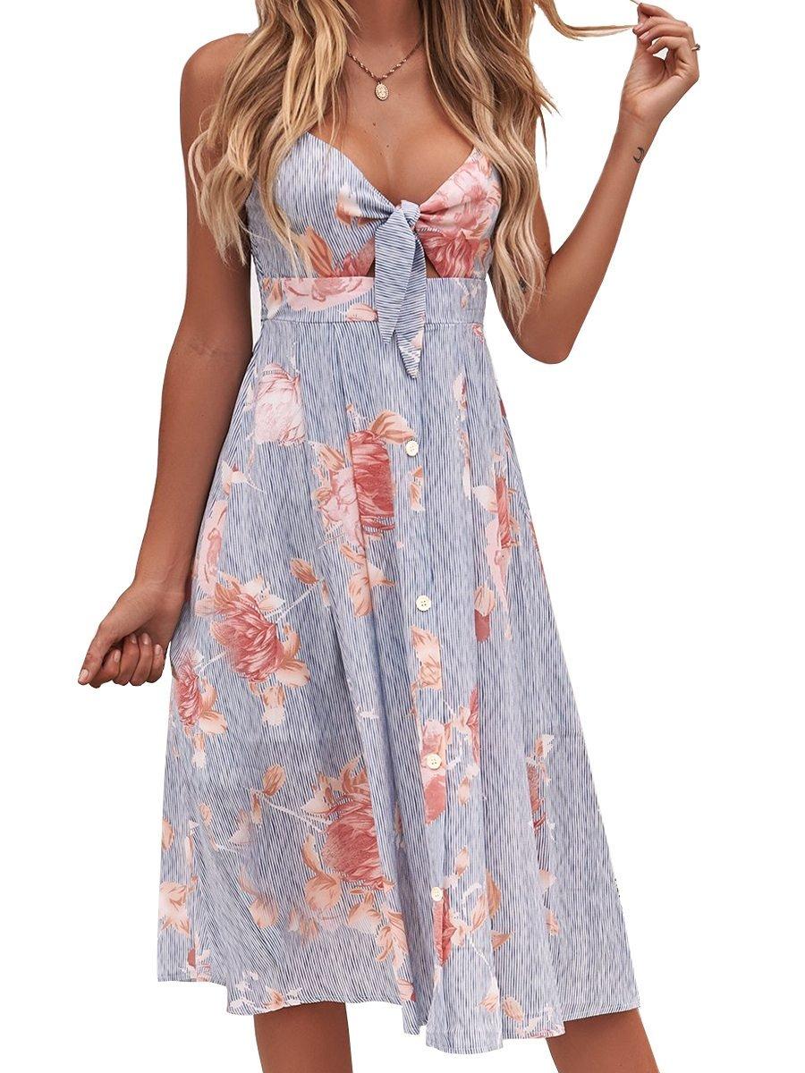 FANCYINN Womens Floral Prints Tie Front Button Down Spaghetti Strap Midi Dress Blue M
