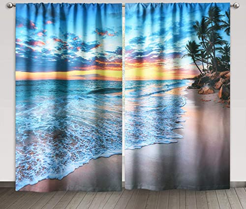 KGORGE Picture Curtains Window Decor – Tropical Ocean Beach Sunset Blackout Curtains, Nautical Seascape Sea Sandy Pattern for Sliding Glass Door Open House, W 52 x L 84 inch, 2 Panels