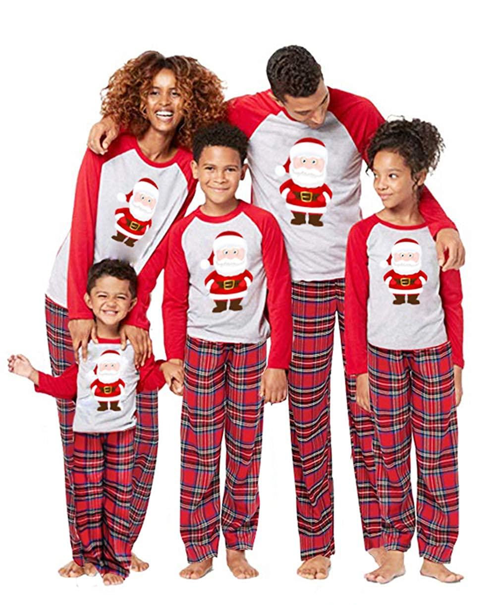 Vawal 2Pcs Family Matching Christmas Santa Claus Outfits Long Sleeve T-Shirt Romper+Plaid Long Pants Pajamas