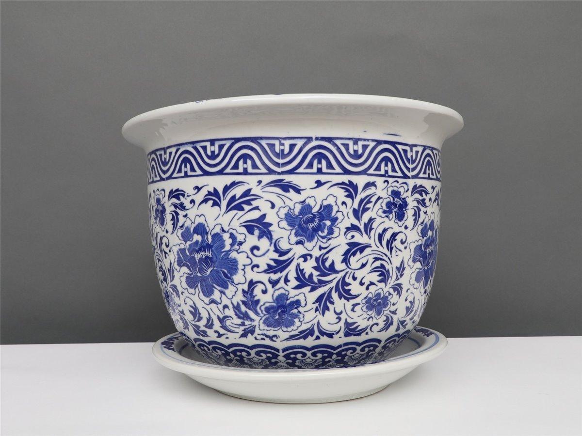 Entstehungszeit nach 1945 Blumentopf Blumenübertopf Pflanztopf Blau-Weiß Stil Porzellan  Ø 40cm P0141-6 Asiatika: China
