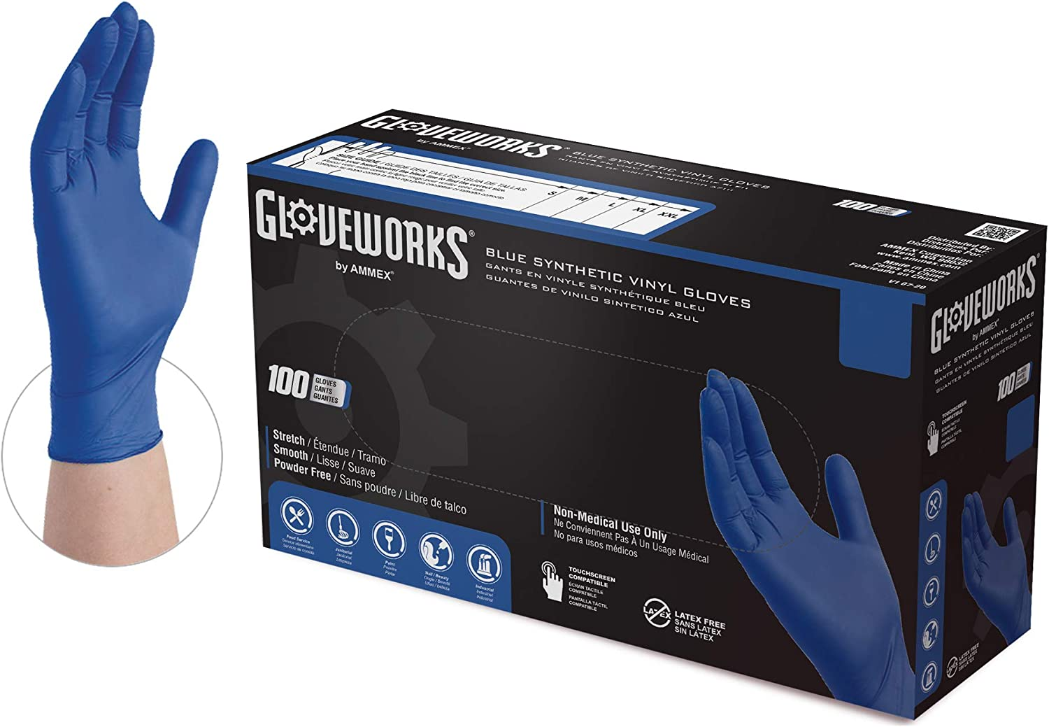 GLOVEWORKS Blue Synthetic Vinyl Industrial Gloves, Box of 100, 3 Mil, Size Large, Latex Free, Powder Free, Disposable, Food Safe, GWQIV46100-BX