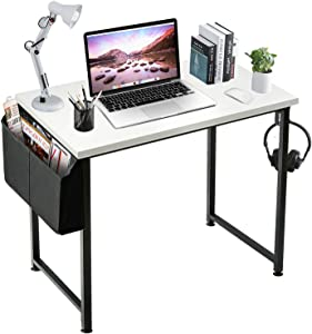 LUFEIYA Small Computer Desk White Writing Table for Home Office Small Spaces 31 Inch Modern Student Study Work Des,White Black