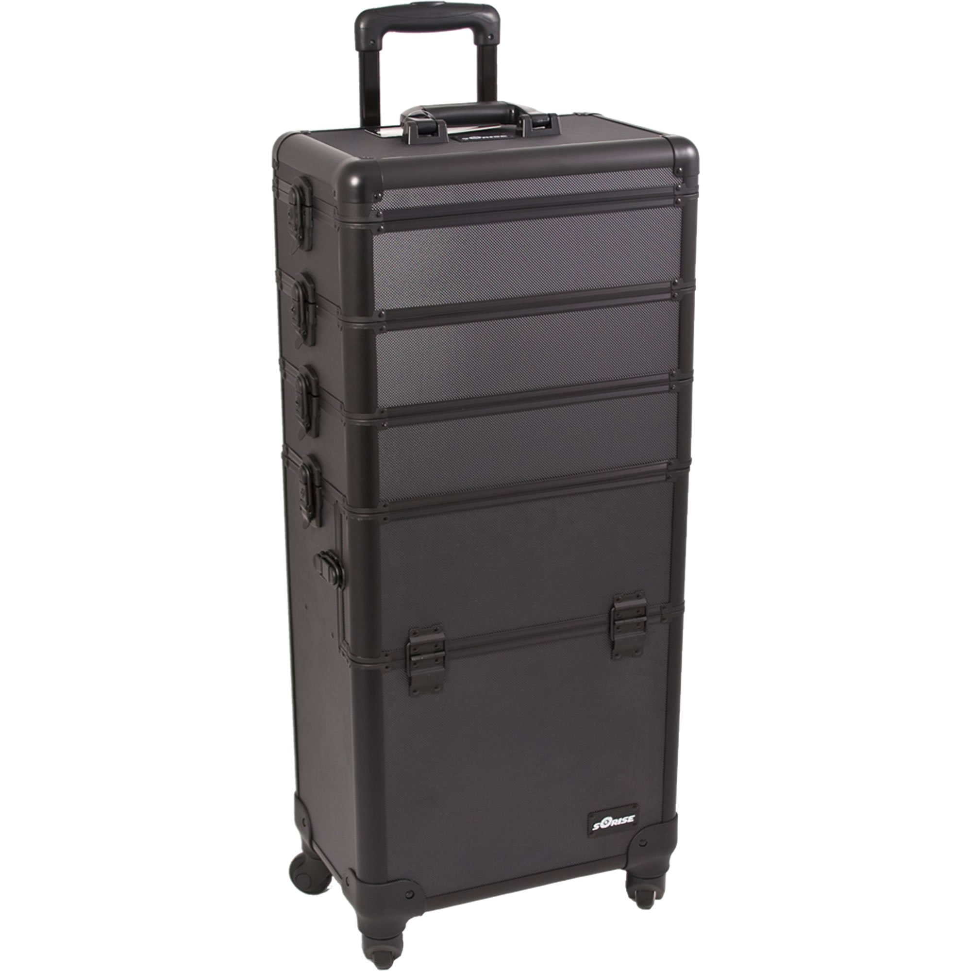 SUNRISE Makeup Case on Wheels 4 in 1 Professional Organizer I3361 Aluminum, 3 Stackable Trays with Adjustable Dividers, Locking with Mirror, Black Dot