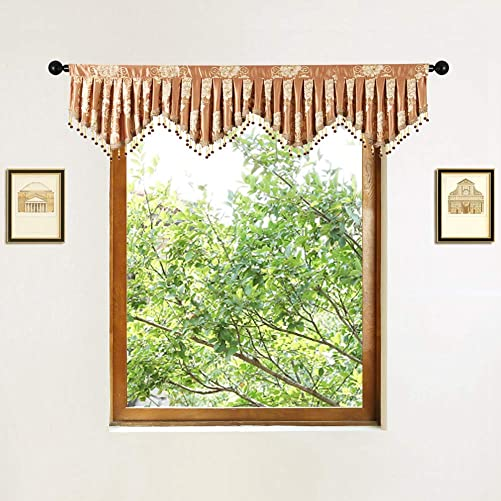 ELKCA Jacquard Fixed Pleated Window Curtain Valance for Living Room Scalloped Valance for Kitchen with Beaded Trim Floral-Coffee, W79