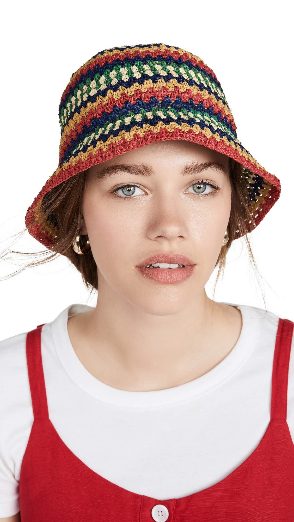 Brixton Women's Essex Raffia Bucket Hat, Multi, Small