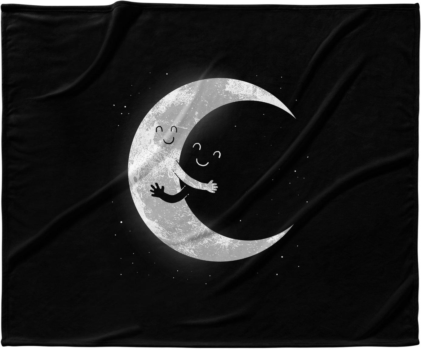 Amazon com kess inhouse digital carbine moon hug black white fleece baby blanket 40 x 30 home kitchen