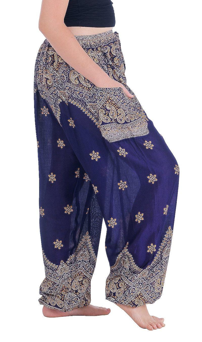 Lannaclothesdesign Womens Boho Yoga Peacock Drawstring Thai Harem Pants