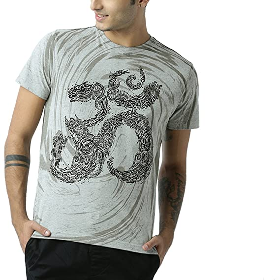 Huetrap Men's Om Printed T Shirt Men's T-Shirts at amazon