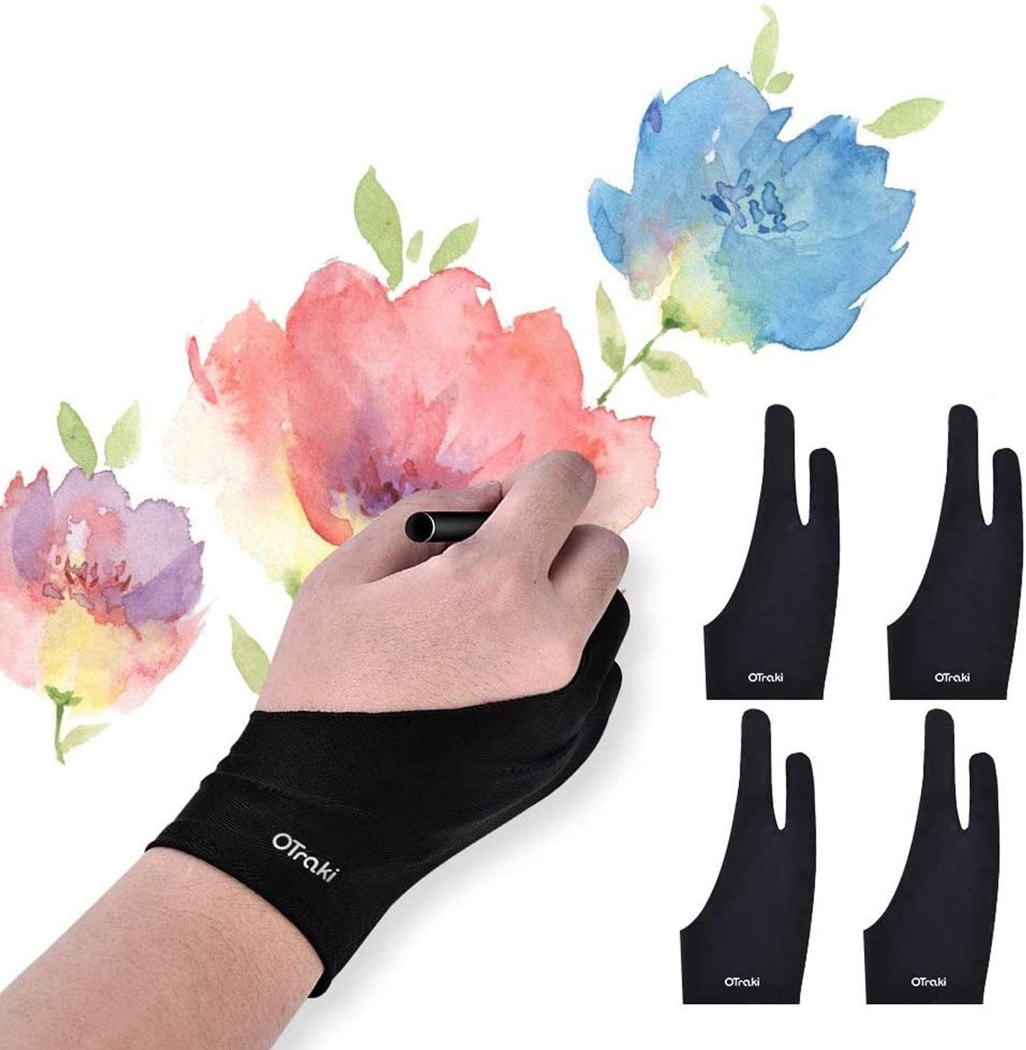 OTraki 4pcs Two Finger Artist Gloves Anti Smudge Graphic Drawing Glove for Tablet Pad Monitor Painting Paper Sketching Universal for Left and Right Hand 3.54 x 8.46 inch