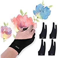 OTraki 4 Pack Artist Gloves for Drawing Tablet Free Size Artist's Drawing Glove with Two Fingers for Graphics Pad…