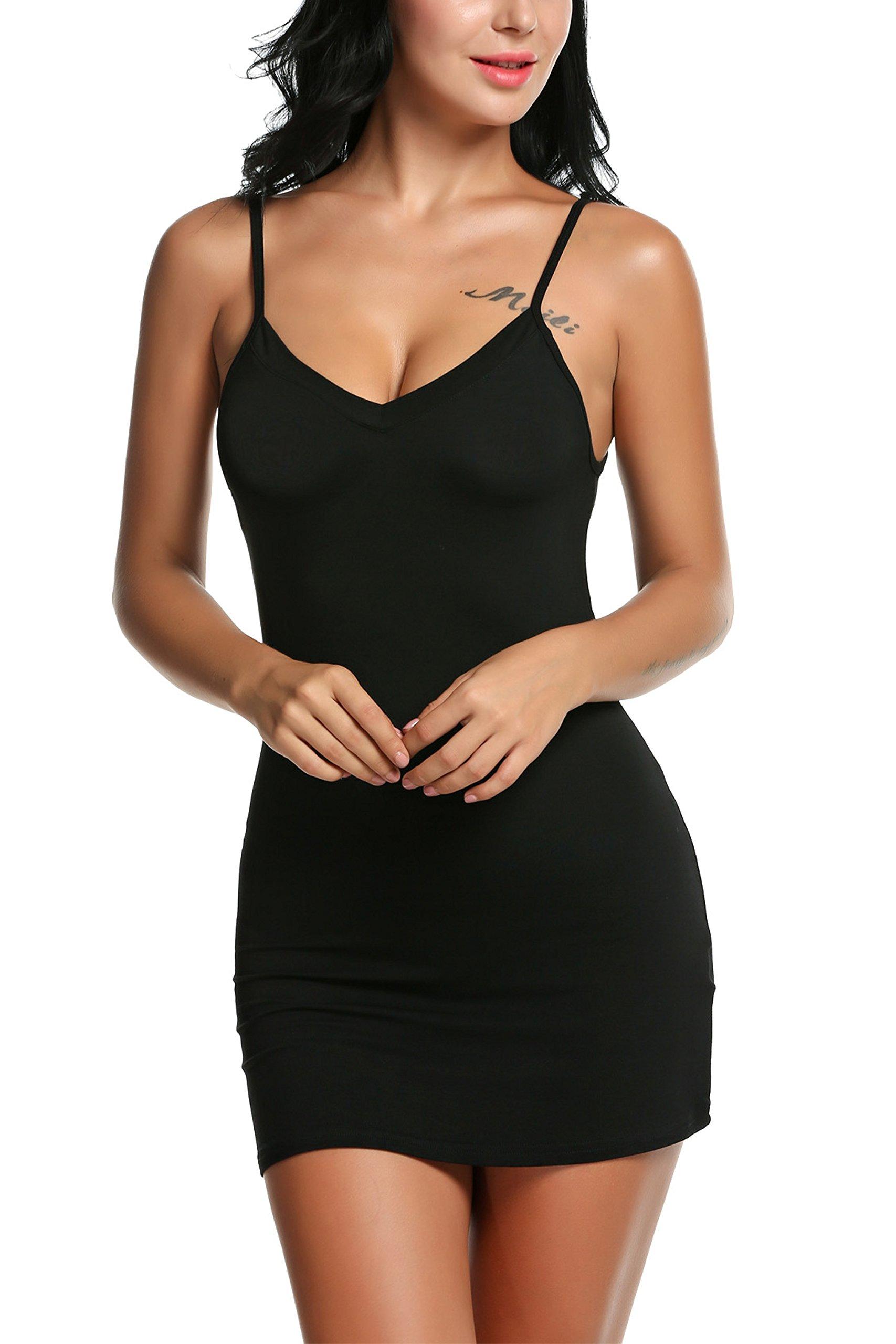Avidlove Women Modal V Neck Nightwear Sleeveless Straight Dress Mini Full Slips Black L
