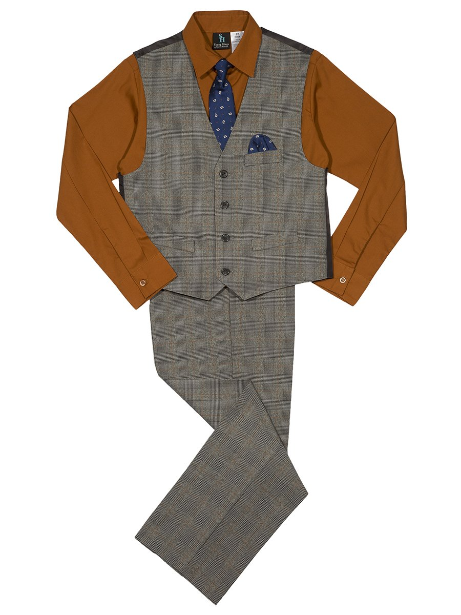 Steve Harvey Big Boys' Four Piece Vest Set, Plaid Ginger, 12