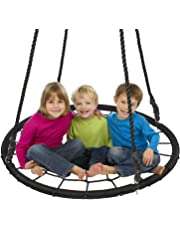 "Display4top Outdoor Swing, Giant 40"" Round Web Tree Net Swing with Swing Set Anchors and Hanging Ropes 400 lbs Capacity, Adjustable length hanging ropes Easy Install"