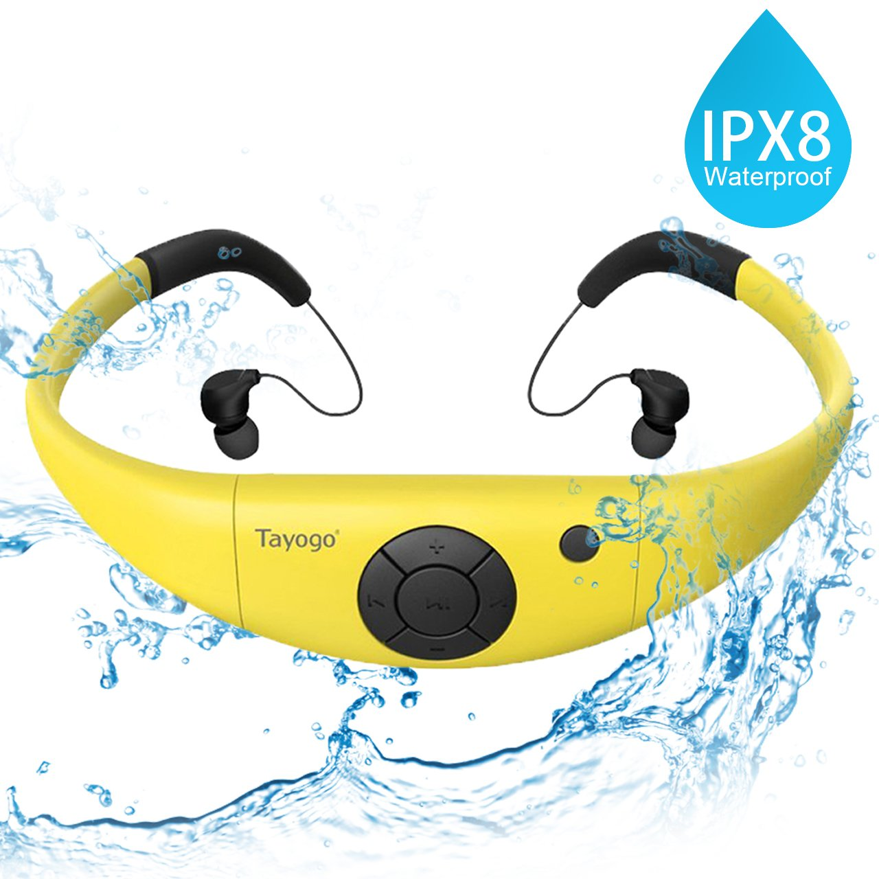 Tayogo Waterproof Mp3 Player 8GB Swimming Bluetooth Headset Underwater 10feet with FM APP Flash Drive for Swimming Running Riding Walking SPA and Other Water Sport with Shuffle Feature