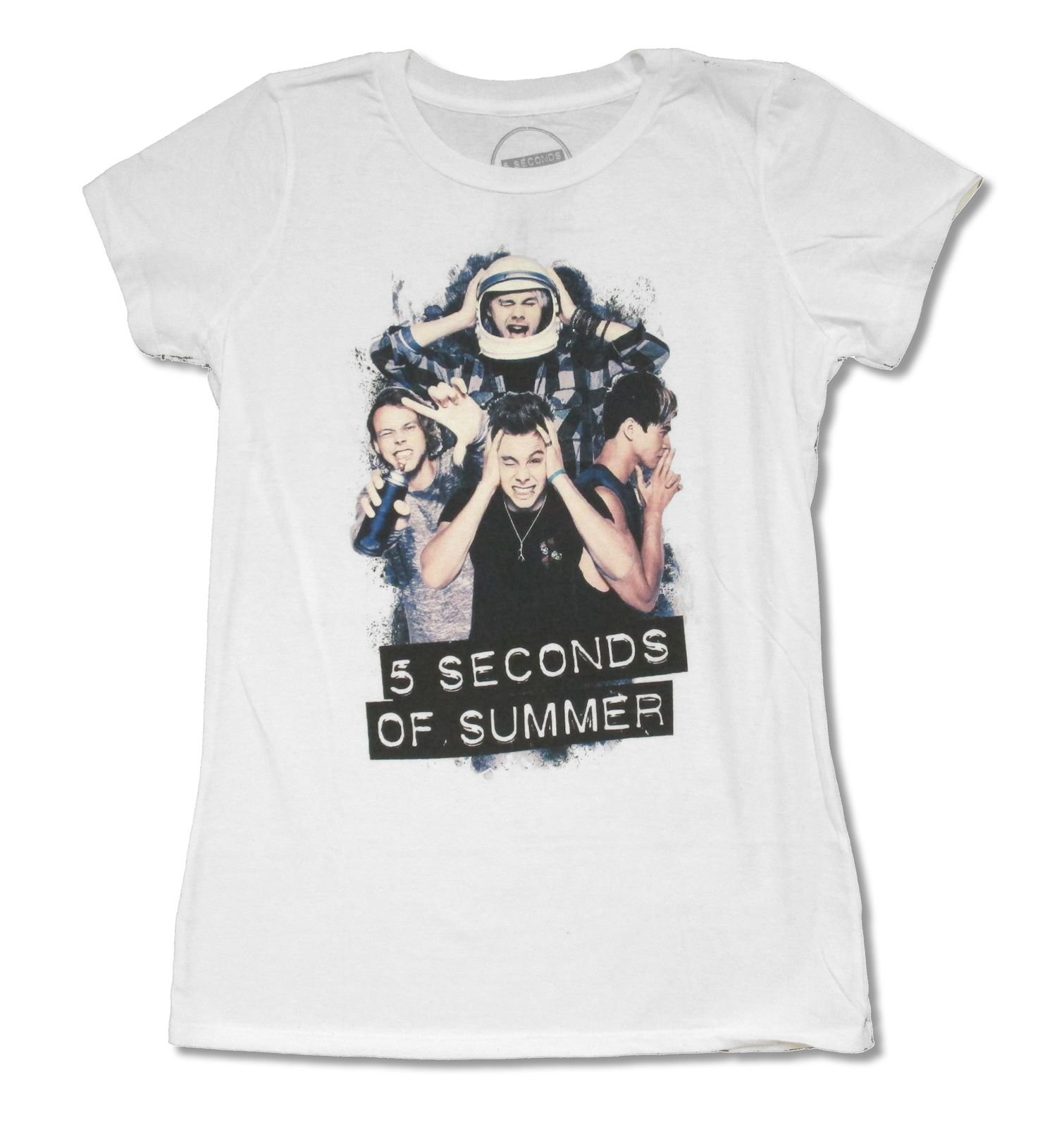 Juniors 5 Seconds of Summer ''Silly Photo'' White T Shirt (Large)