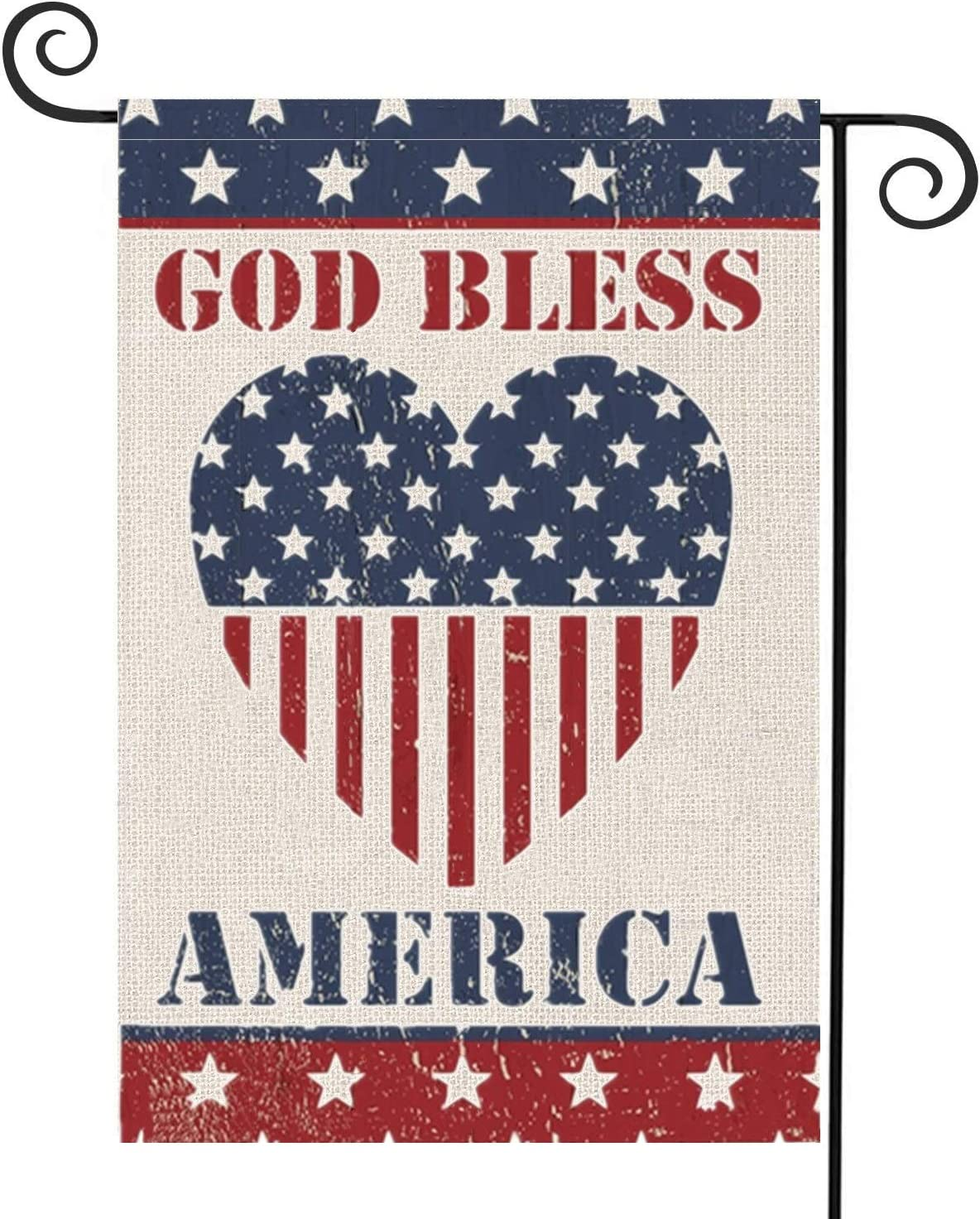 Patriotic Vintage Garden Flags 4th of July Stripes and Star American Flag Double Sided God Bless America Yard Flag Memorial Day Independence Day Yard Outdoor House Banners Decoration 12.5 x 18Inch