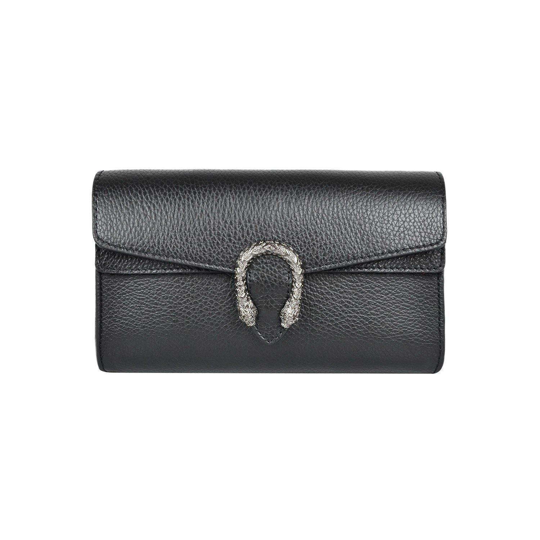 RACHEL PEBBLE Italian leather women's super shoulder handbag flap cross-body bag metal chain bag pebble grained leather (CLUTCH Black)