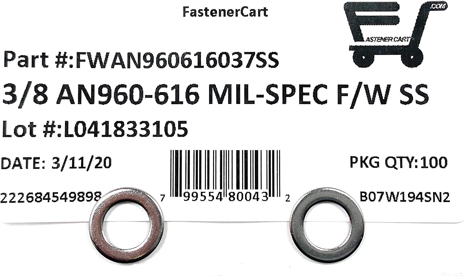 3//8 ID x 5//8 OD x.062 THK 3//8 AN960-616 Mil-Spec Flat Washers Stainless Steel AN960-616 100 Pieces