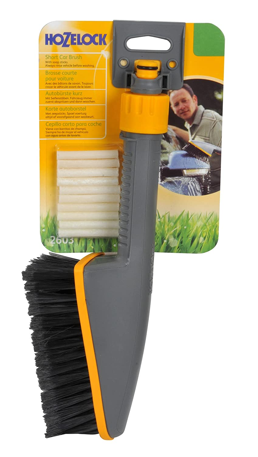 Hozelock Short Car Brush with Soapsticks