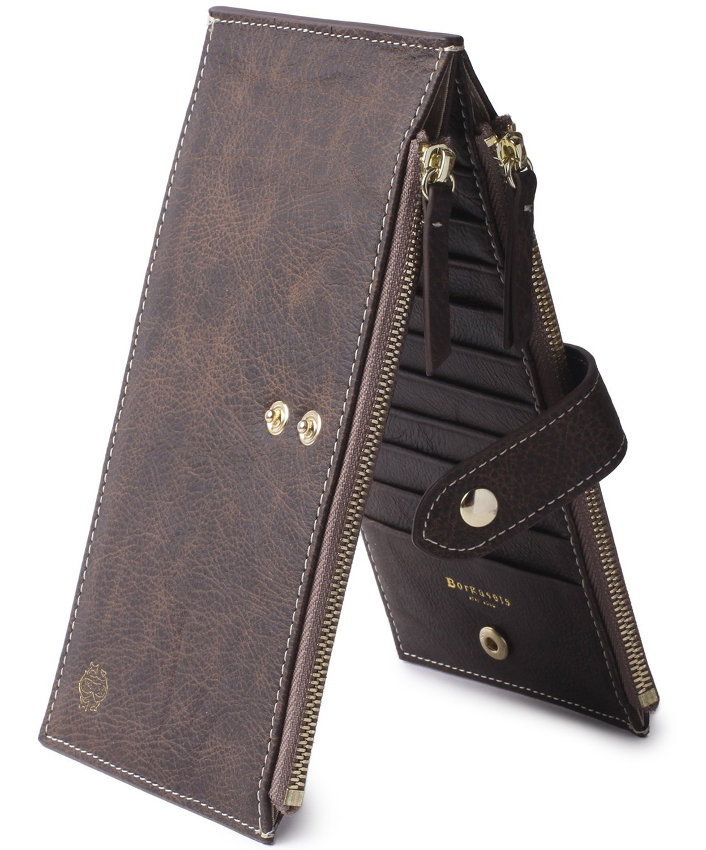 Borgasets RFID Blocking Women's Genuine Leather Wallet Credit Card Holder Zipper Purse (Vintage-Coffee)