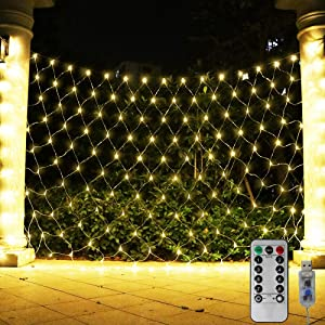 204 LED Net Light Outdoor Mesh Lights, Backdrop Window Lights Remote Control Fairy Lights for Outdoor, Garden, Wedding Party, Christmas Decor-9.8ft x 6.6ft(Warm White)