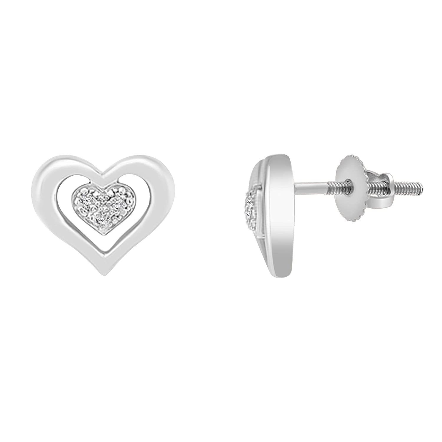 10K Solid Gold Diamond Accent Double Heart Stud Earrings With Screw Back