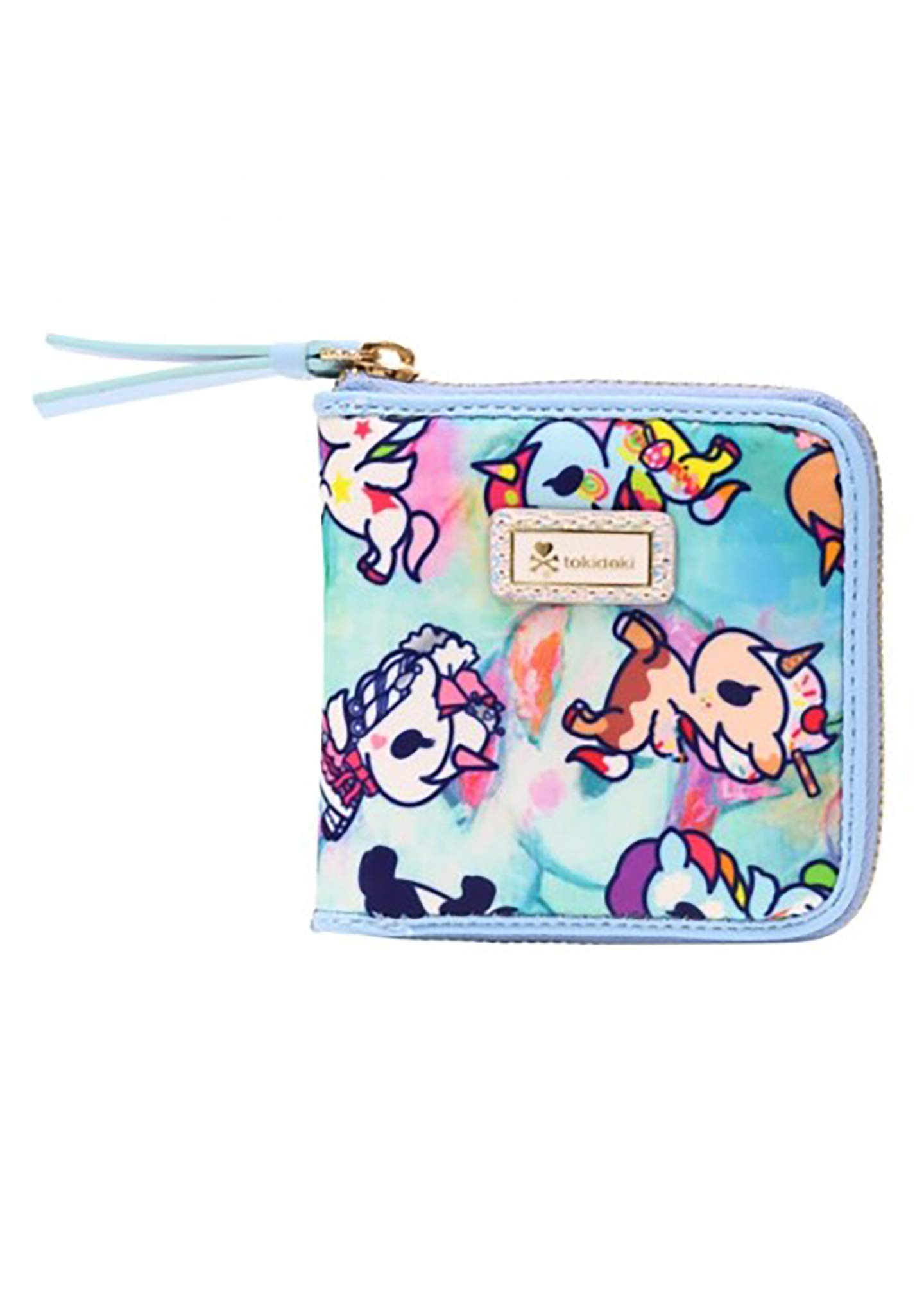 Tokidoki Watercolor Paradise Small Zip Around Wallet in Blue/Multi