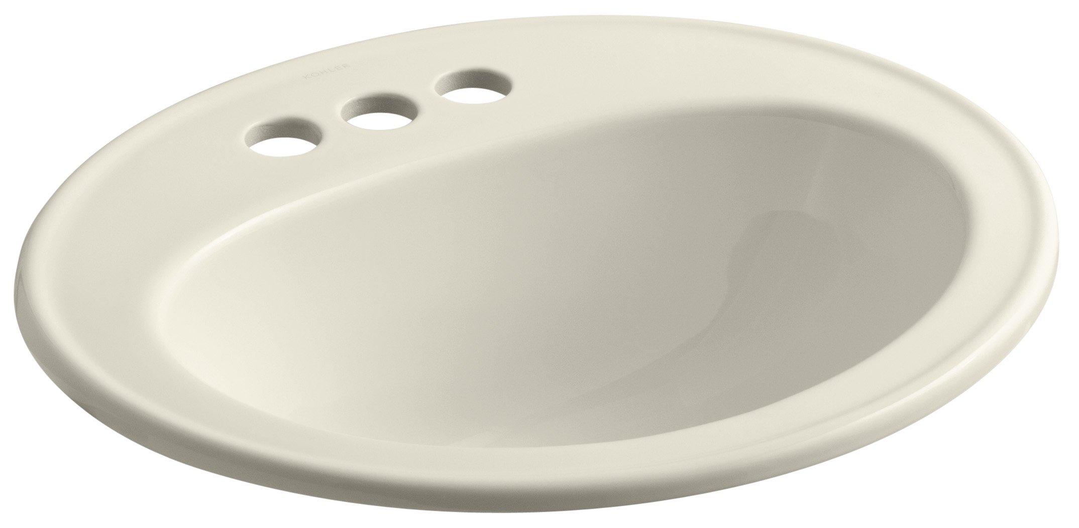 KOHLER K-2196-4-47 Pennington Self-Rimming Bathroom Sink, Almond by Kohler
