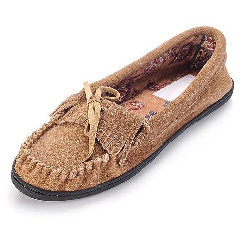 GR Pantuflas de Mocasin de Mujer con Suela de Vaca auténtica Forro de Tela Superior Impreso y Suela de Goma: Amazon.es: Zapatos y complementos