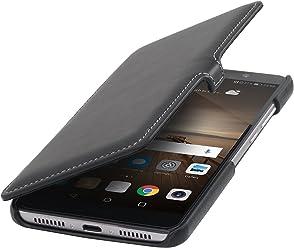 StilGut Book Type avec Clip, Housse en Cuir pour Huawei Mate 9. Etui de Protection à Ouverture latérale avec Fermeture clipsée, en Noir Nappa