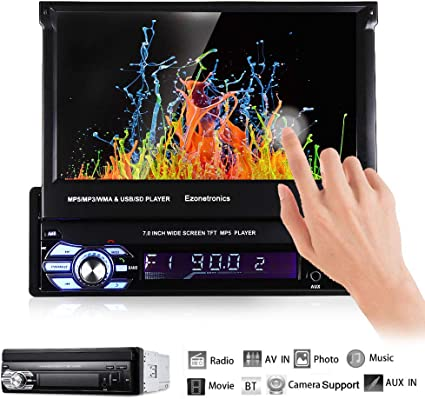 Ezonetronics Single 1Din 7 inch Slip Down Car Stereo,in Dash 1080P TFT/LCD Touch Screen Car FM Radio Receiver