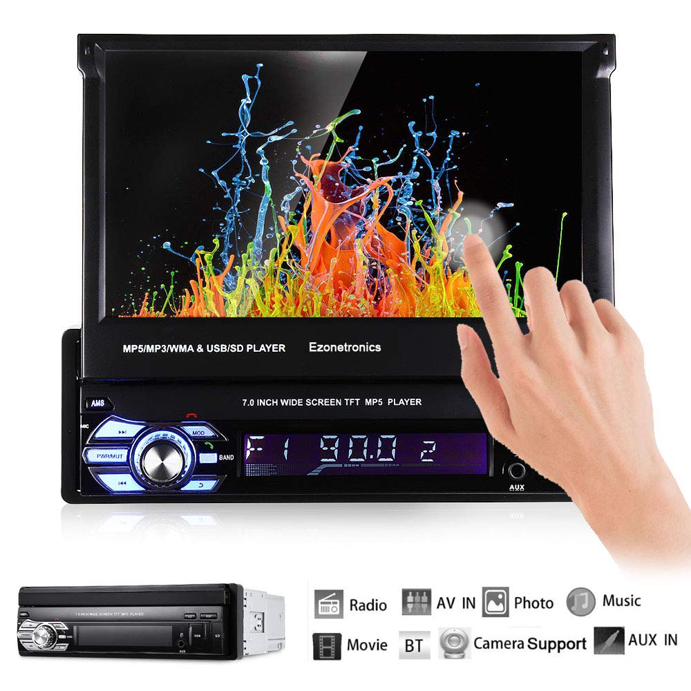 Ezonetronics Single 1Din 7 inch Slip Down Car Stereo,in Dash 1080P TFT/LCD Touch Screen Car FM Radio Receiver with USB/SD,MP4/MP5 Car Player Support Rear Camera for Retractable Car Radio CW9601 by EZoneTronics