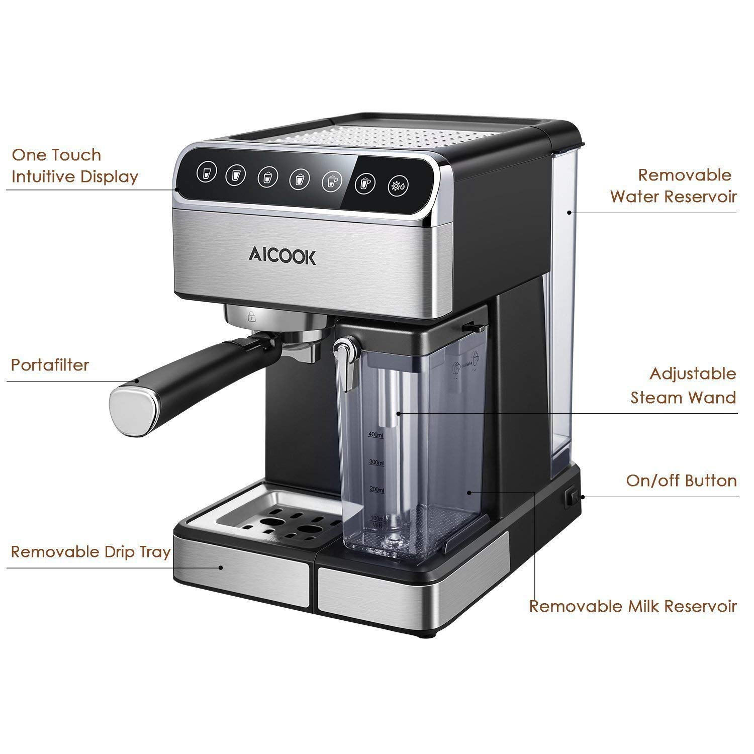 Aicook Espresso Machine, Barista Espresso Coffee Maker with One Touch Digital Screen, 15 Bar Pump and Automatic Milk Frother, Cappuccino Maker, Latte maker by AICOOK (Image #5)