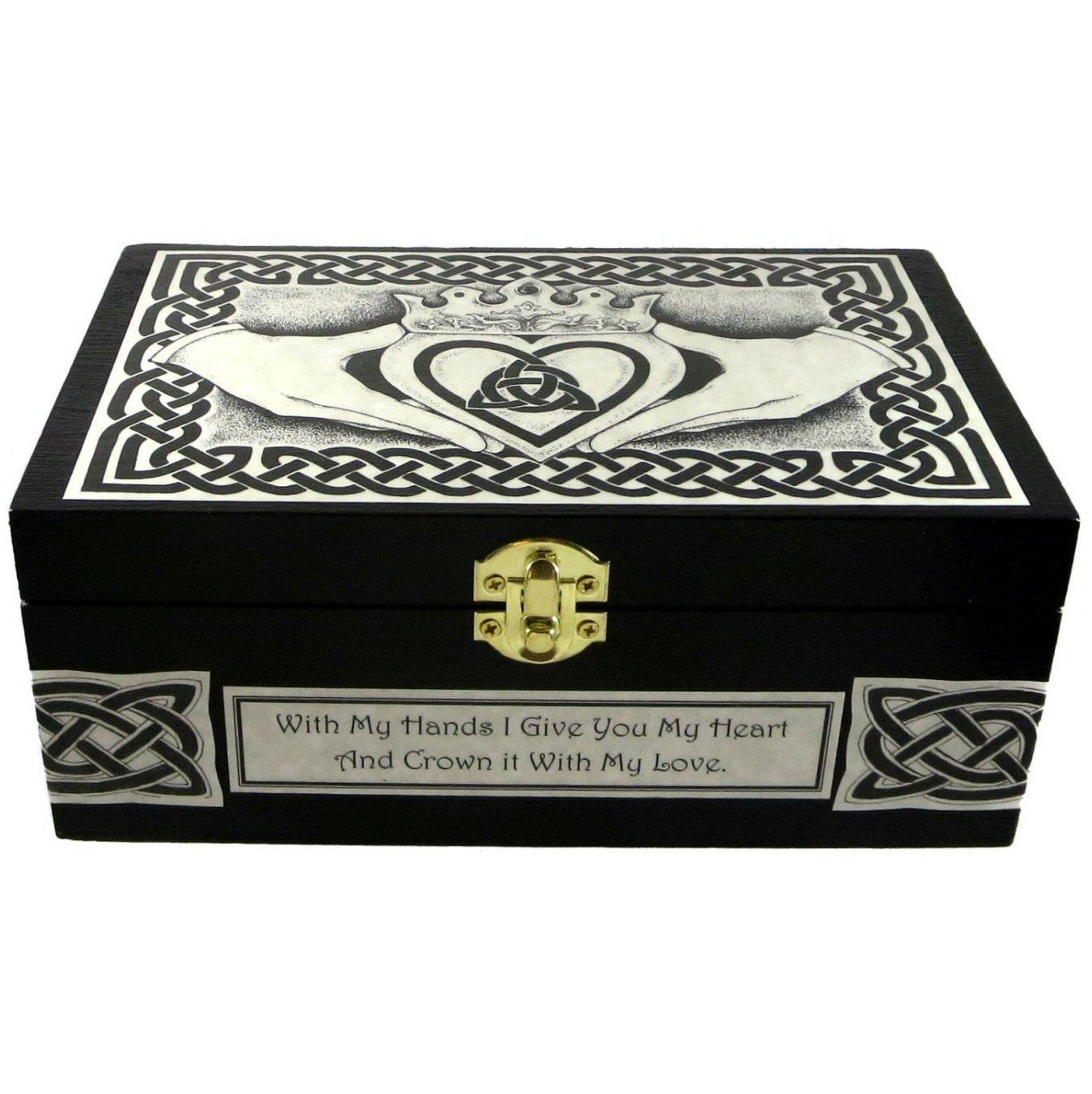 B015GQYK5I Celtic Claddagh Wooden Box with Custom Message by Dragon Star Creations LRB2995C 713CWdj009L