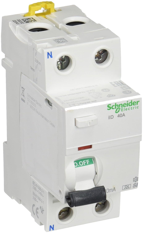 Schneider Electric Interruptor diferencial iID, 30 mA, 2P, 40 A, Clase A Si