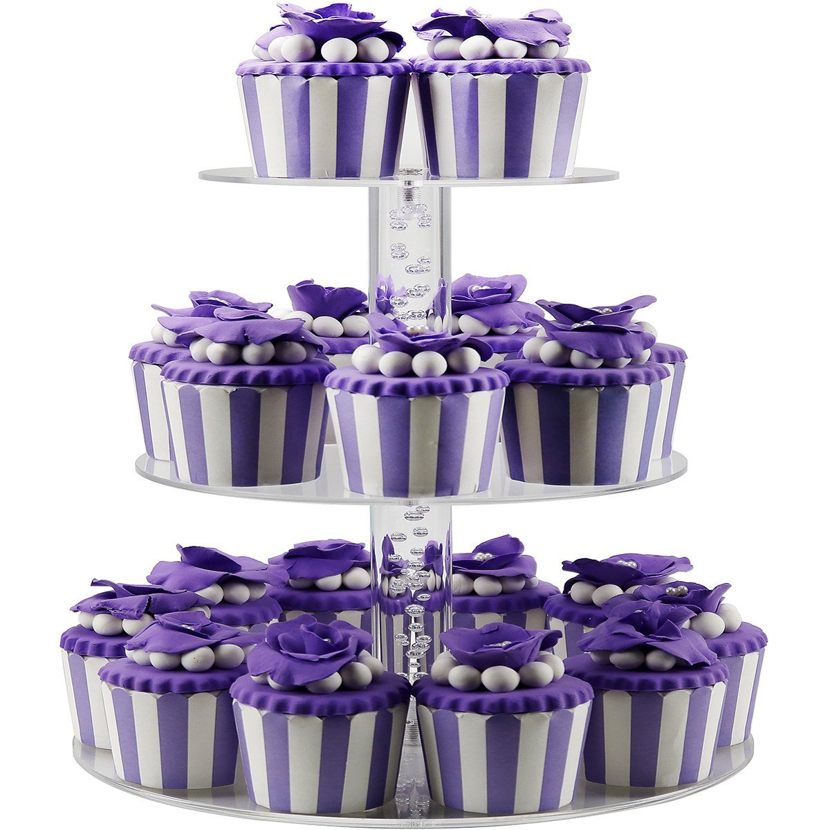 DYCacrlic 3 Tier Cake Cupcakes Stands Display Tree For Baby Family Friends,Cupcake Stand Holder for Parties, Acrylic Wedding Cupcake Tower Stand (Amazing Bubble Rod)