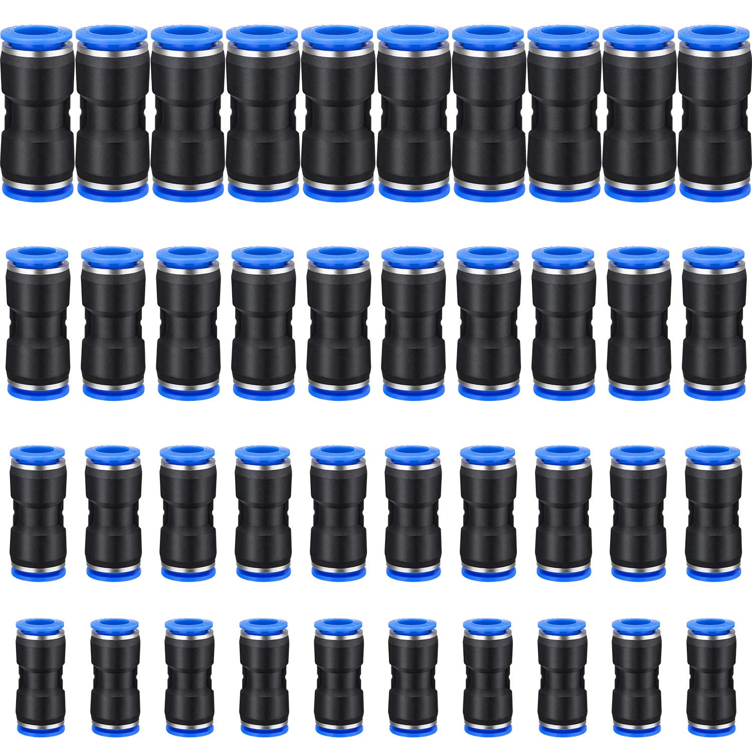 Two Way YOTINO 30 pcs Straight Push Connectors One Touch Straight Fittings Plastic Quick Release Connectors for Air Line Water /& Fuel Hoses of 1//4 5//16 3//8 Tube