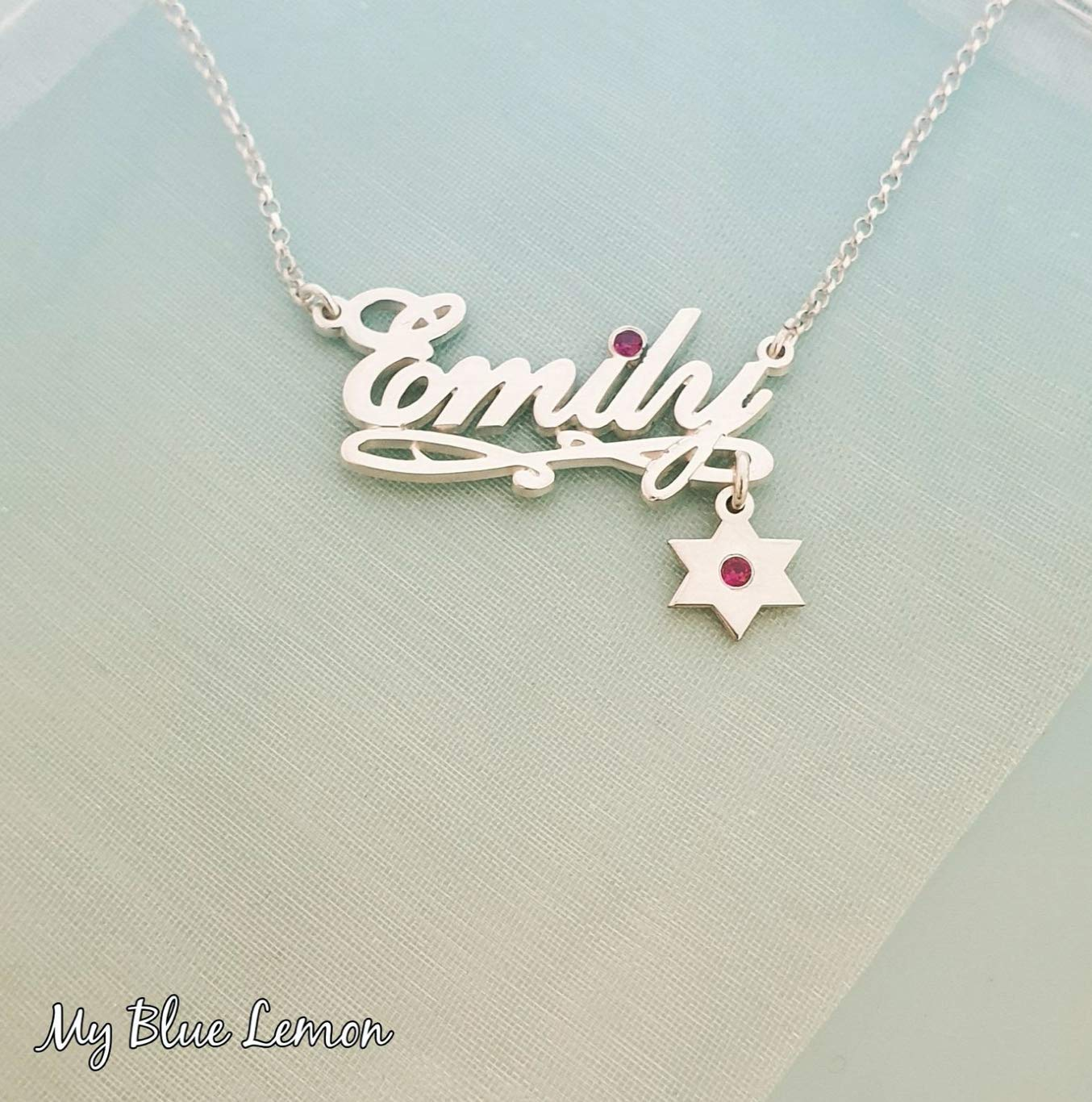 Personalized Natalie Name Necklace With Star Of David Charm Birthstone Swarovski Birthstone Order Any Name Jewelry Custom Bat Mitzvah Jewish Star