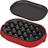 YAMAZEN takoyaki device (with flat plate) 18 baked removable plate type Red YOC-